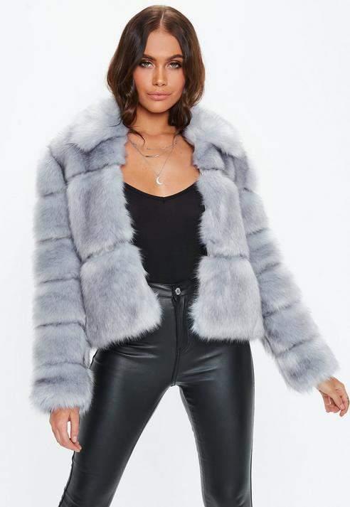 Premium Blue Crop Pelted Faux Fur Jacket, Blue