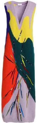 DELPOZO Appliquéd Intarsia Alpaca-Blend Midi Dress