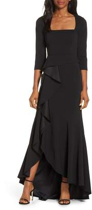 Adrianna Papell Cascade Ruffle Evening Dress