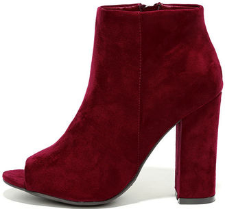Means So Much Burgundy Suede Peep-Toe Booties $36 thestylecure.com