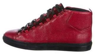 Balenciaga Arena Pebbled Leather Sneakers