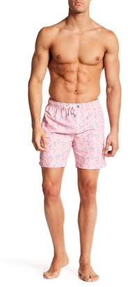 Franks Blue Flamingo Print Mid Length Shorts