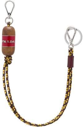 Prada braided leather keychain