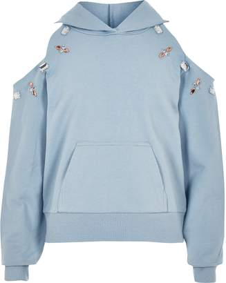 River Island Girls Blue embellished cold shoulder hoodie