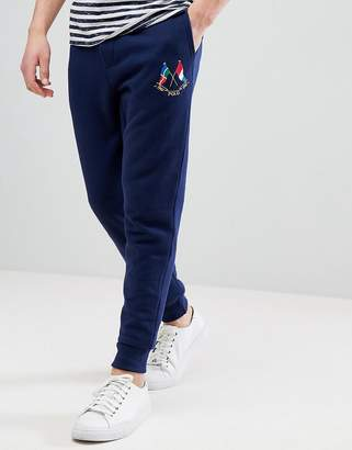 Polo Ralph Lauren Slim Fit Cuffed Jogger Embroidery Flags In Navy
