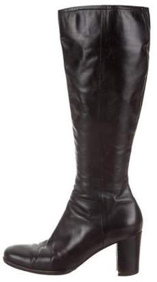 Sergio Rossi Leather Knee-High Boots Black Leather Knee-High Boots