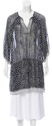 Ulla Johnson Paisley Print Silk Tie-Accented Tunic