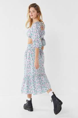 Urban Outfitters Petunia Ruffle Button-Down Midi Skirt