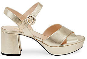 Prada Women's Metallic Crisscross Platform Sandals