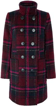 Next Womens Monsoon Burgundy Louis Check Coat