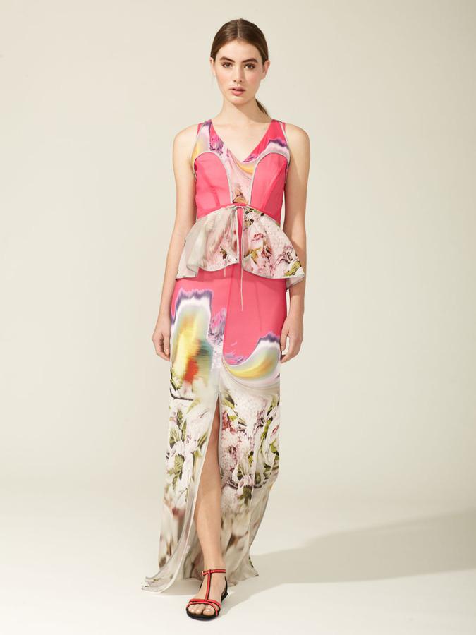 Vera Wang Printed Chiffon Tiered Peplum Drawstring Belt Gown