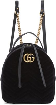 Gucci Black Velvet GG Marmont 2.0 Backpack