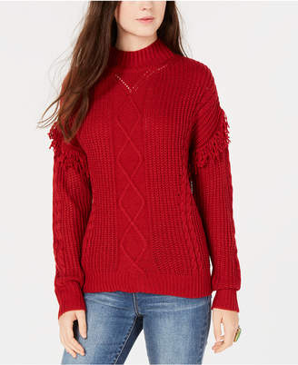 American Rag Juniors' Mixed-Knit Fringe Turtleneck Sweater
