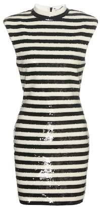 Saint Laurent Striped sequinned dress