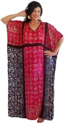 Lotustraders Caftan Dress Lounge Bali Batik Black l376