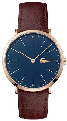 Lacoste Men's Moon 2010871 Brown Leather Strap Watch