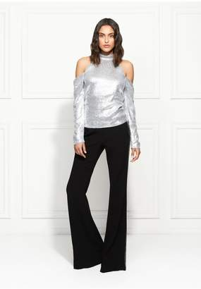 Rachel Zoe Jakki Cold-Shoulder Fluid Sequin Top