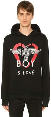 Boy London Boy Is Love Printed Hooded Sweatshirt