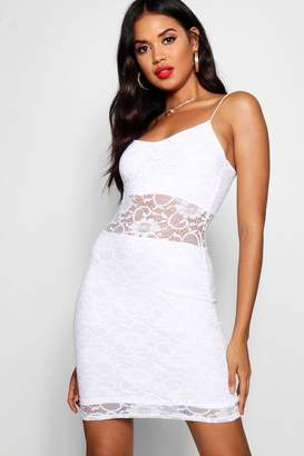 boohoo Lace Panelled Bodycon Dress