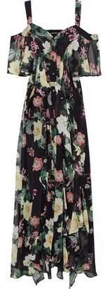 Nicholas Cold-Shoulder Layered Floral-Print Silk-Chiffon Maxi Dress