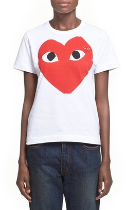 Women's Comme Des Garcons Play Graphic Cotton Tee $120 thestylecure.com