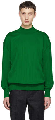 Issey Miyake Green Wrinkle Knit Turtleneck Sweater