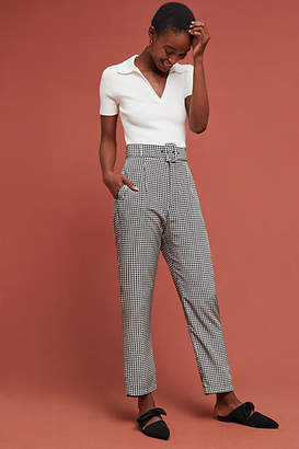 Delfi Houndstooth Belted Silk Trousers