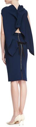 Roland Mouret High-Waist Wool Crepe Pencil Skirt, Navy