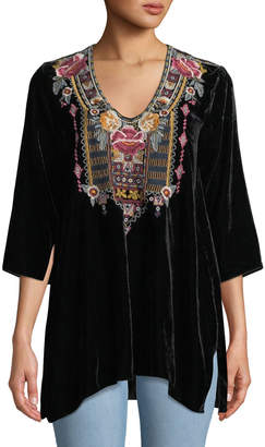 5847735bcee2e Johnny Was Black Embroidered Top - ShopStyle