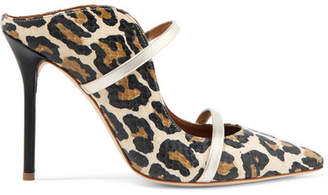 Malone Souliers Maureen Metallic Leather-trimmed Leopard-print Elaphe Mules