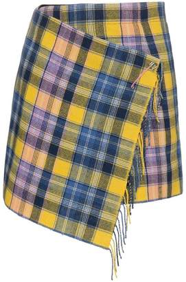 A Peace Treaty Clarke fringed wrap tartan mini skirt