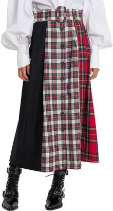 Isa Arfen Tartan Poatchwork Skirt With Middle Buttons-line