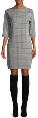 Joan Vass High Boat-Neck 3/4-Sleeve Stretch-Plaid Sheath Dress, Petite