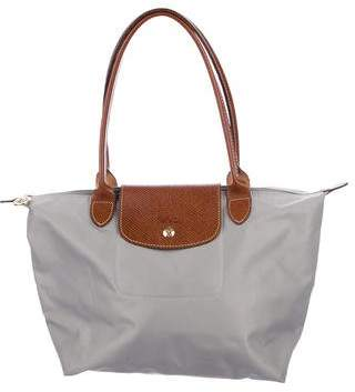 Pre Owned At Therealreal Longchamp Leather Trimmed Le Pliage Tote