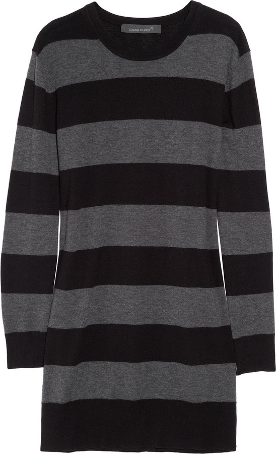 Claudia Schiffer Striped merino wool-blend sweater dress