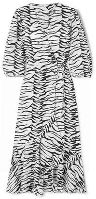 Rixo Noleen Tiger-print Cotton-voile Wrap Dress - White