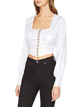 d84d00ee237 at Amazon.co.uk · NEON COCO Women s Tie Back Cropped Shirt Formal