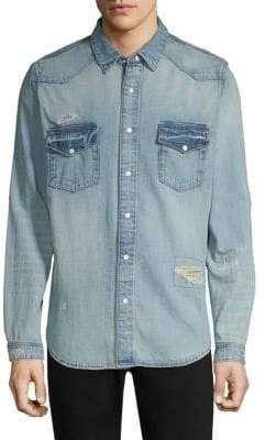 The Kooples Patchwork Button-Down Denim Shirt