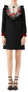 Gucci Gucci Embroidered Silk Wool Dress