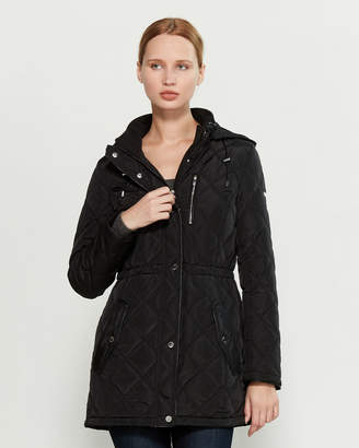DKNY Quilted Hooded Anorak