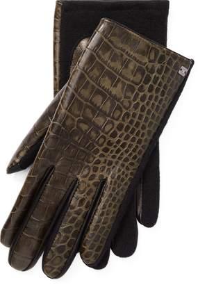 Ralph Lauren Crocodile-Embossed Tech Gloves