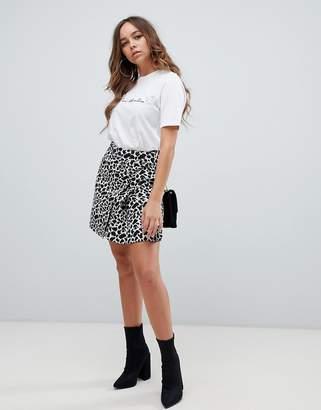 2e8f9475c5cc Asos Design DESIGN mini animal jacquard wrap skirt with buckle