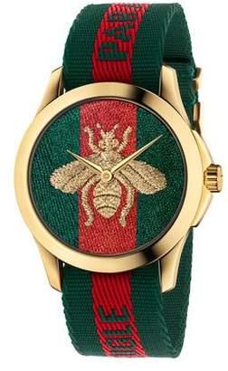 Gucci 38mm Le Marché Des Merveilles Bee Watch w/ Nylon Web Strap
