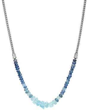 John Hardy Classic Chain Silver, Aquamarine& Kyanite Mini Necklace