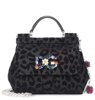 Dolce & Gabbana Sicily Mini flocked shoulder bag