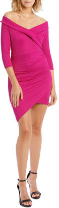Miss Shop Long Sleeve Rouched Jersey Dress Magenta