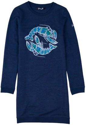 Gung Ho Blue Lobster Embroidered Sweatshirt Dress
