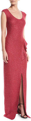 St. John Inlaid Sequin Knit Column Gown
