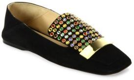 Sergio RossiSergio Rossi SR1 Jeweled Suede Slippers
