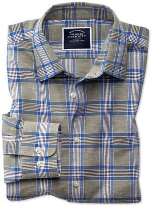 Charles Tyrwhitt Classic Fit Khaki Check Cotton Linen Cotton Linen Mix Casual Shirt Single Cuff Size Large
